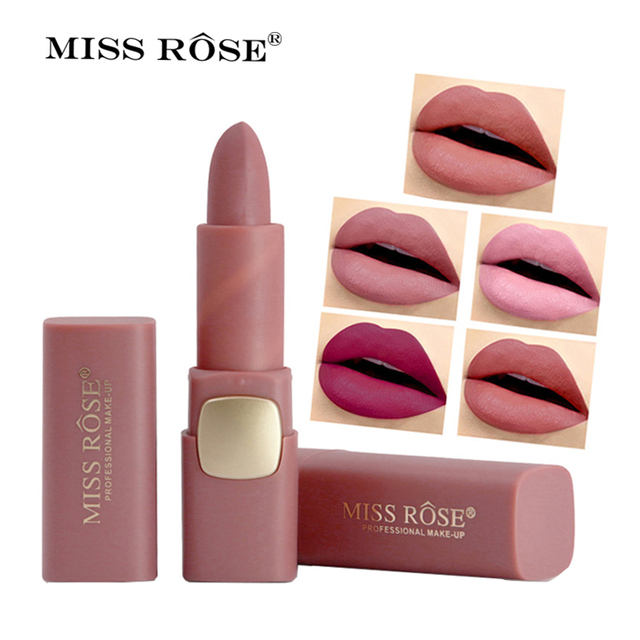 Miss Rose Matte Lipstick Cosmetics Makeup Waterproof Lips Moisturizing Easy To Wear Make up Lip Sticks Gloss Lipsticks