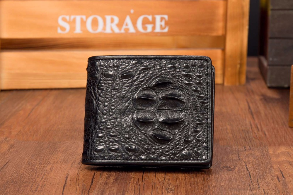 Luxury Quality Genuine Crocodile head Skin Leather Men Wallet bank card holder black brown color free shipping luxury crocodile grain card holder folio