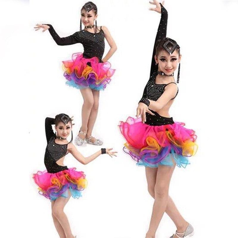 Latin Dance Dress Colorful Tulle Skirt Children Latin Competition Dress Kids Ballroom Dance Wear Salsa Tango Rumba Samba Costume