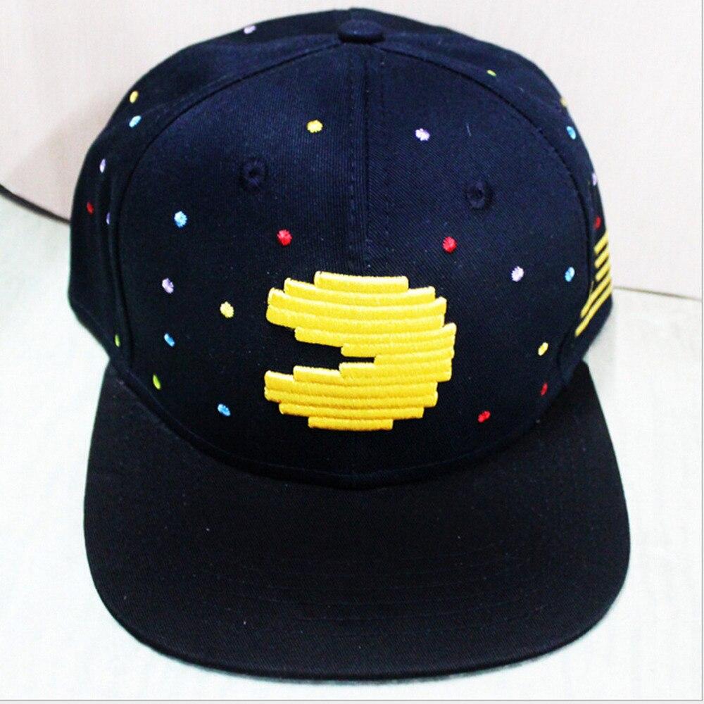 Prix pour Jeu Série Lecteur Homme Pacman Cosplay Cap noir Nouveauté personnalité PAC-MAN Chapeaux de bande dessinée dames robe Costume Accessoires casquette de baseball