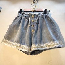 beaded women shorts denim summer new solid shine loose wide leg lady shorts top quality(China)