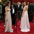 Estrellas famosas de Lujo Red Carpet Vestidos de La Celebridad Con Cuentas Scoop Cuello Drapeado Imperio Embarazada Vestido de Maternidad Formal de Los Vestidos de Barrido