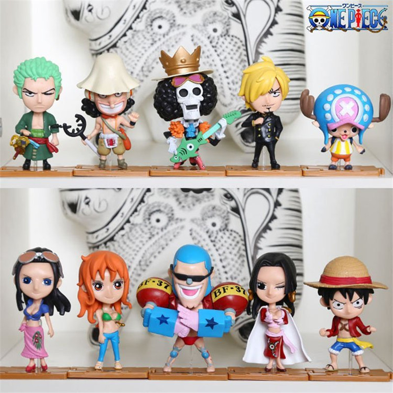WVW 10pcs/Set Anime One Piece Luffy Zoro Nami Usopp Sanji Chopper Model PVC Toy Action Figure Decoration For Collection Gift one piece action figure roronoa zoro led light figuarts zero model toy 200mm pvc toy one piece anime zoro figurine diorama