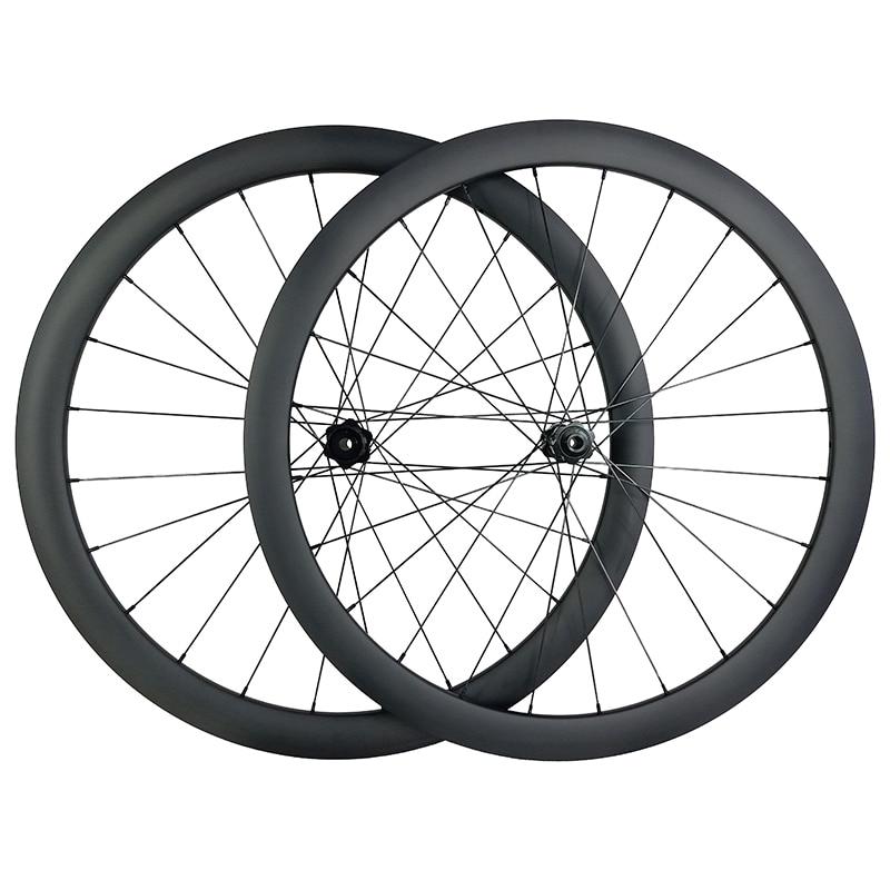 1400g 700c 42mm asymmetric road disc carbon wheels clincher tubeless center lock wheelset UD 3K 12K