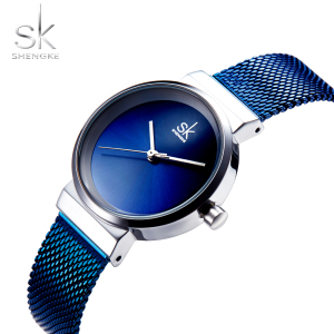 Image 4 - Shengke Blue Wrist Watch Women Watches Luxury Brand Steel Ladies Quartz Women Watches 2020 Relogio Feminino Montre Femme