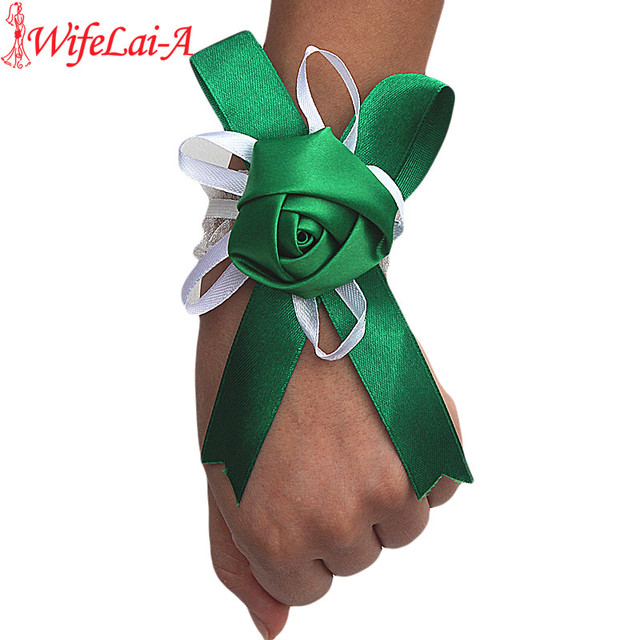 Wifelai-a Customized Simple Green Rose Flowers Wrist Flowers Bride Marriage Wedding Ribbon Corsage Wrist Hand Flowers