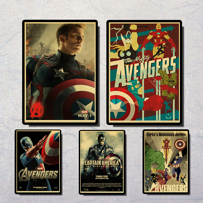 The Avengers Poster Movie Marvel Poster Vintage Poster Prints High Quality  Duvar Tablolar For Living /Kids Room Coffee Bar Home