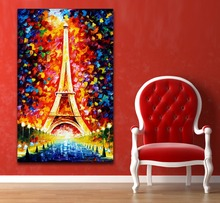 100% Hand-painted Romantic Eiffel Tower Modern Palette Knife Painting Bling Night Scene Canvas Wall Art for Home Office Decor
