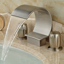Brushed Nickel C Shape Waterfall Spout Basin Sink Faucet Double Handle Deck Mounted