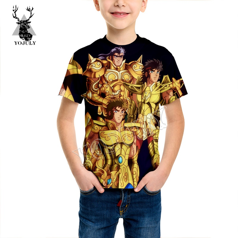 YOJULY Anime Saint Seiya 3D Full Printed T Shirt Child Kids Short Sleeve T-shirt Baby Summer Fashion O-neck Casual T Shirt KT62