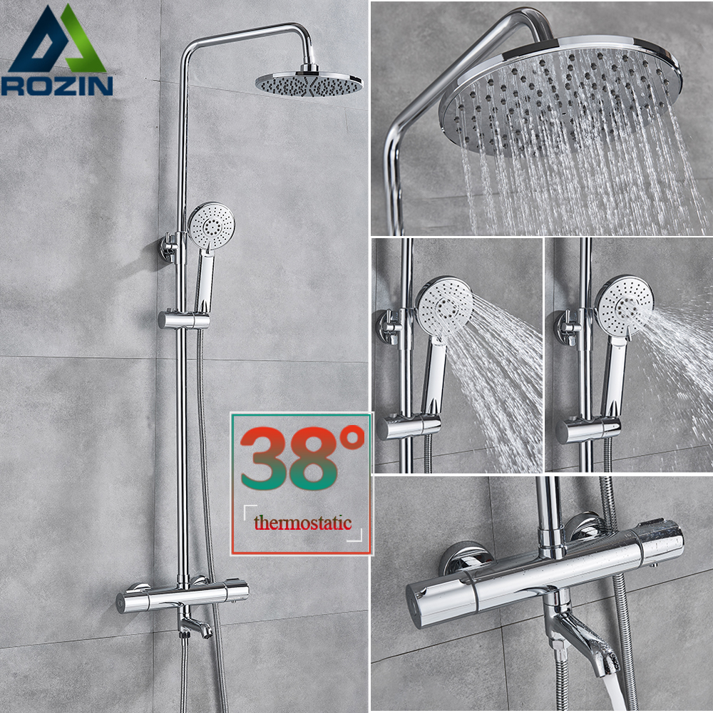 Chrome Rainfall Shower Set Thermostatic Bath Shower Mixer Faucet Wall Mounted Rotate Watering Can Bathroom Shower