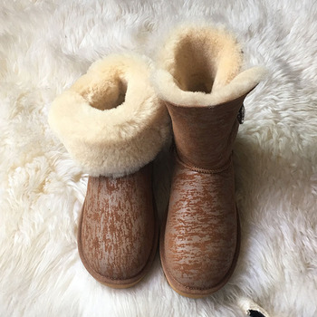 Fashion New Women's Australia Classic Snow Boots 2018 Genuine Sheepskin Natural Fur Winter Boots Brand Women Warm Shoes