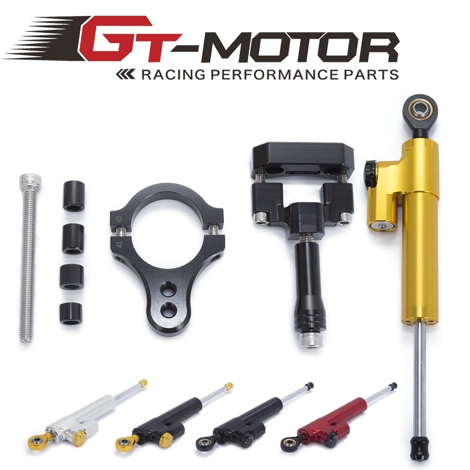 GT Motor Motorcycle CNC Damper Steering StabilizerLinear Reversed Safety Control Bracket For Yamaha R3 2014 2015