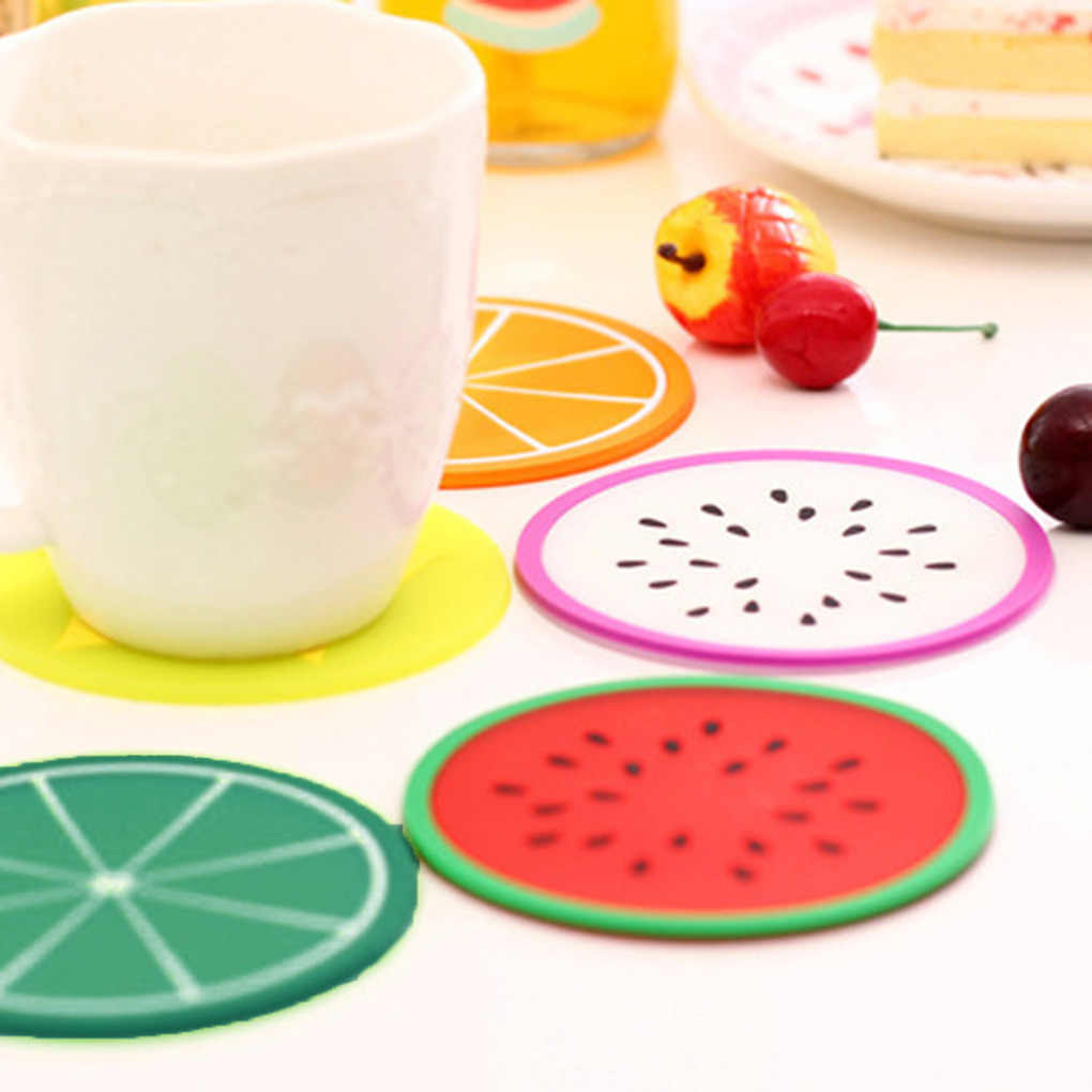 Coaster Fruit Shape Silicone Cup Pad Slip Insulation Pad Cup Mat Pad Hot Drink Holder