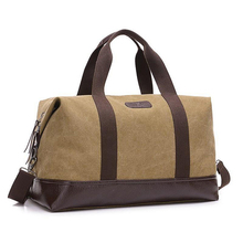 купить Canvas Leather Men Travel Bags Big Carry On Luggage Bags Handbag Duffel Bags T728 Travel Tote Large Weekend Bag Overnight дешево