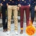Густой шерсти бизнес стиль брюки осень зима повседневная мужчины брюки согреться брюки прямой тонкий толстые брюки мужчины
