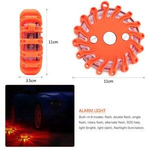 Image 4 - 16 led 손전등 깜박이 안전 경고 야간 조명 도로 플레어 비상 조명 자석베이스 디스크 비콘 자동차 트럭 보트