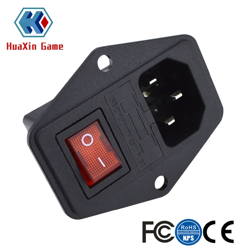 2 Pcs Inlet Module Plug 5A Fuse Switch Male Power Socket 10A 250V 3 Pin IEC320 C14