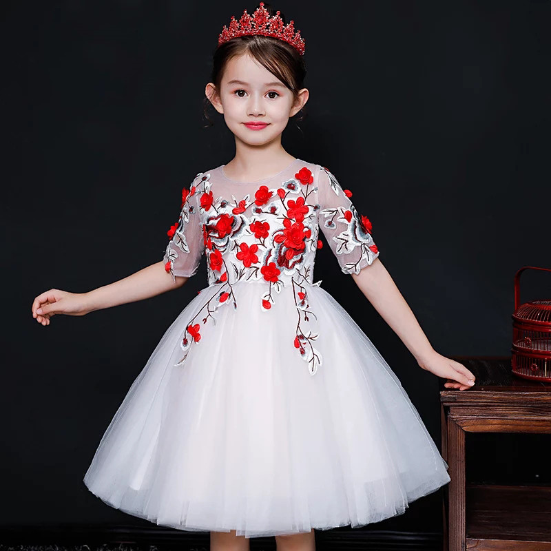 все цены на 2018Fashion Children Kids Toddler Appliques Flowers Birthday Wedding Party Prom Mesh Dress Toddler Girl Piano Host Pageant Dress
