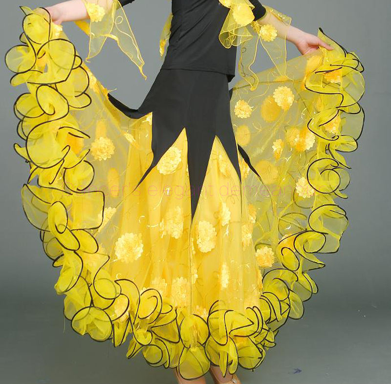 NEW ice silk ballroom dance skirt women embroidery long skirts belly dance competition skirt S 6XL