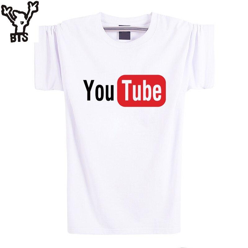 BTS YouTube Logo Print Brand Tops Cotton Short Sleeve Summer T Shirts Casual Custom Hip Hop