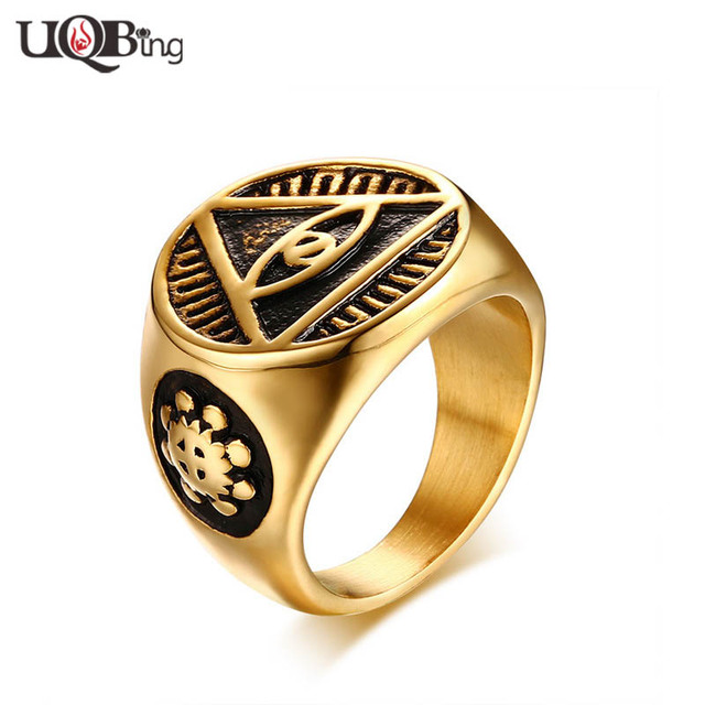 Gold color Eye Of Gold Jewelry Rings For Men Stainless Steel Cool