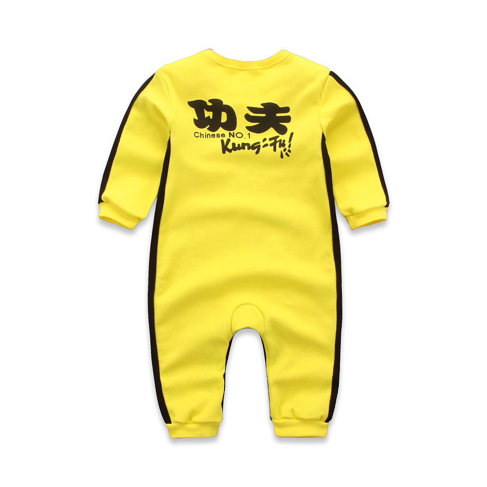 newborn baby Bruce Lee KungFu superman rompers embroidery yellow infant toddlers jumpsuit ...