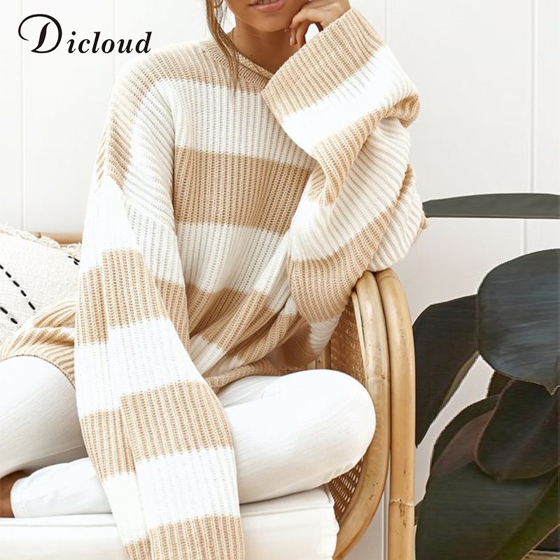 DICLOUD Casual Oversized Striped Sweater Women Autumn 2019 Batwing Long Sleeve Loose Pullover Winter Knitted Ladies Jumper White