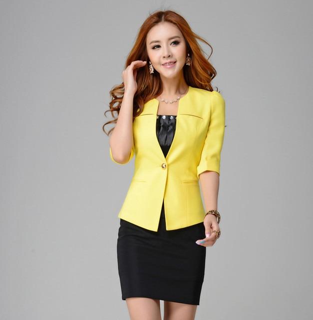 19e6e208091a Single piece Candy color, Yellow, Pink, Black Women Business Formal Blazer,  Femininos tops jacket coats