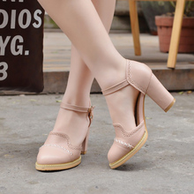 Big Size 43 Lady Shoes 2016 New Spring Autumn Summer Style Thick High Heeled Pumps Casual Office women shoes woman zapatos mujer