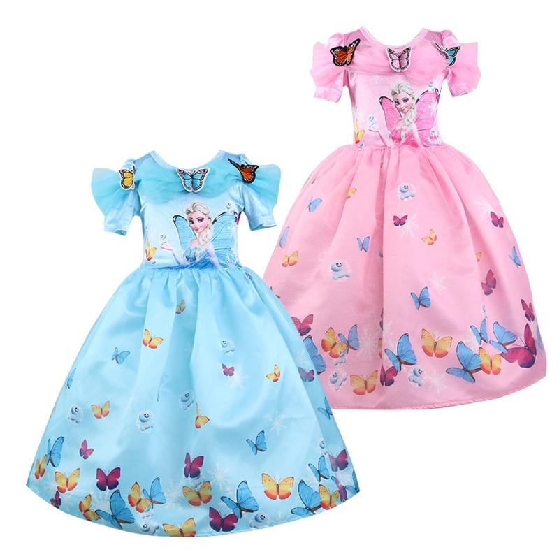 Enfants Filles Elsa Princesse Dentelle Robes Enfants de Soirée Vêtements Bébé Fille Partie Licorne Robe 2018 Fleur De Noël Robe 3-10Y
