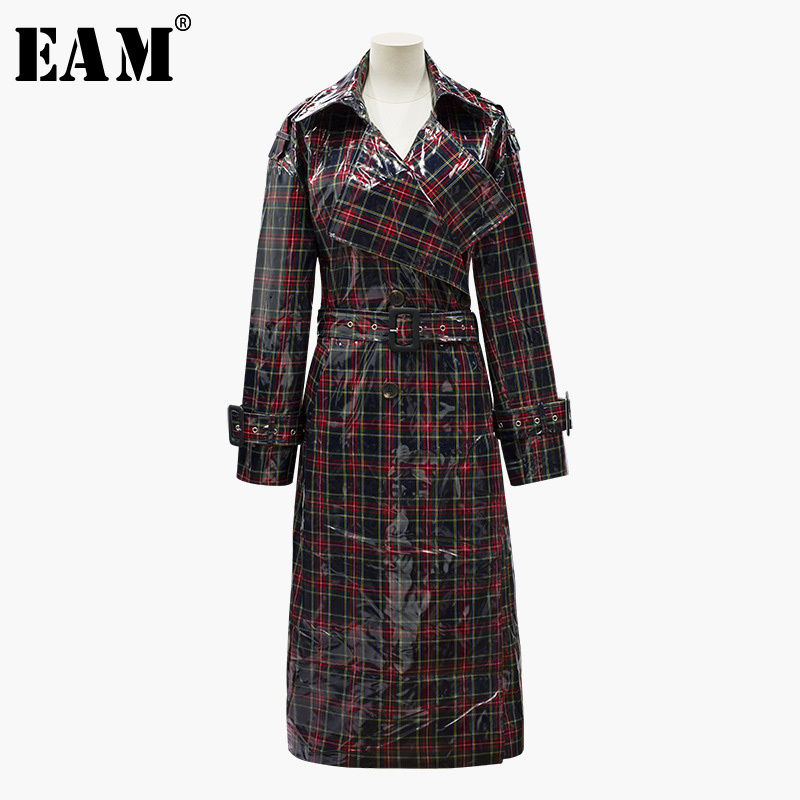 [EAM] 2019 New Spring Summer Lapel Long Sleeve Waist Buckle Plaid Brief Temperament Windbreaker Women   Trench   Fashion Tide JY026