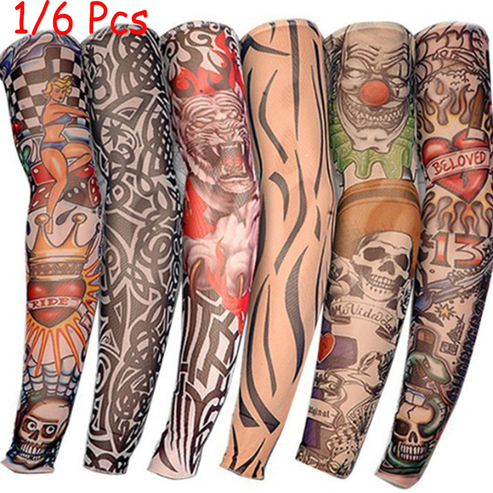 HOT 1PC Cycling Sports Tattoo Sleeves UV Cool Arm Sleeves Cycling Running Arm Warmer Sport Elastic Oversleeve Arm Warmers
