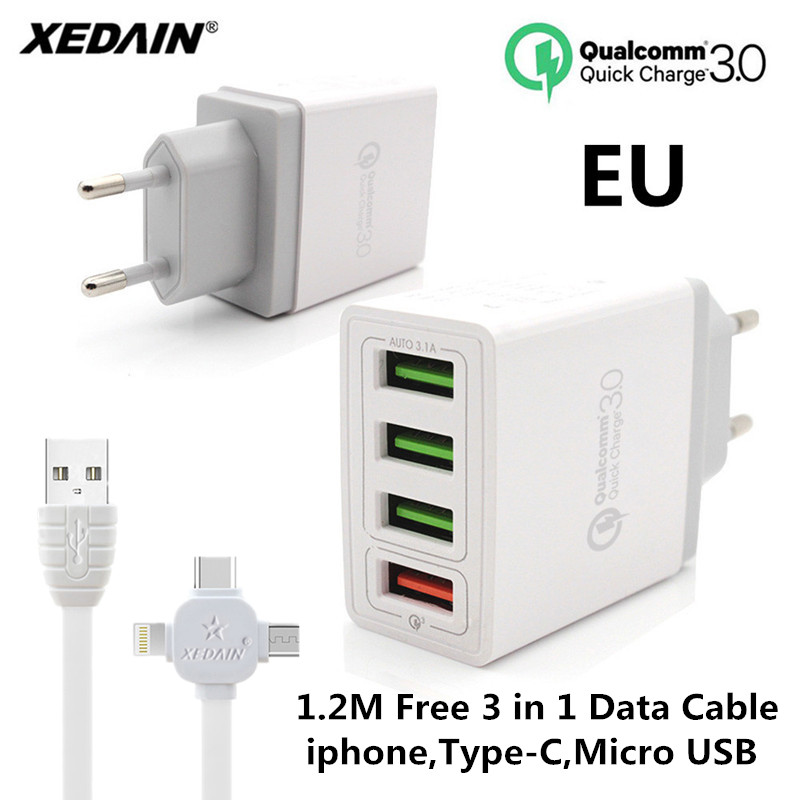 XEDAIN 4 Port USB Fast USB Charger Cable Phone Quick Charger 3.0 EU/US Plug Wall Charger For Samsung Apple LG Sony Xiaomi Huawei