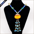 Vintage Tribal Amber Resin Beads Yak Bone Carving Turquoise Amulet Strand Pendant Long Statement Necklace Jewelry For Women Gift
