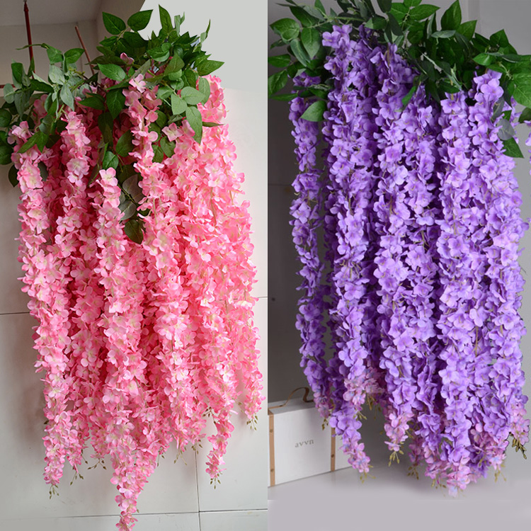16m artificial wisteria flower rattan vines garlands silk flower 16m artificial wisteria flower rattan vines garlands silk flower for wedding party decorations home ornament in artificial dried flowers from home mightylinksfo