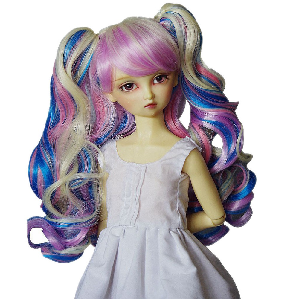 [wamami] 97# Colorful Long Wig With clips For 1/3 SD AOD DOD DZ BJD Dollfie 8-9 [wamami] 1 6 sd stand aod dod dz bjd dollfie