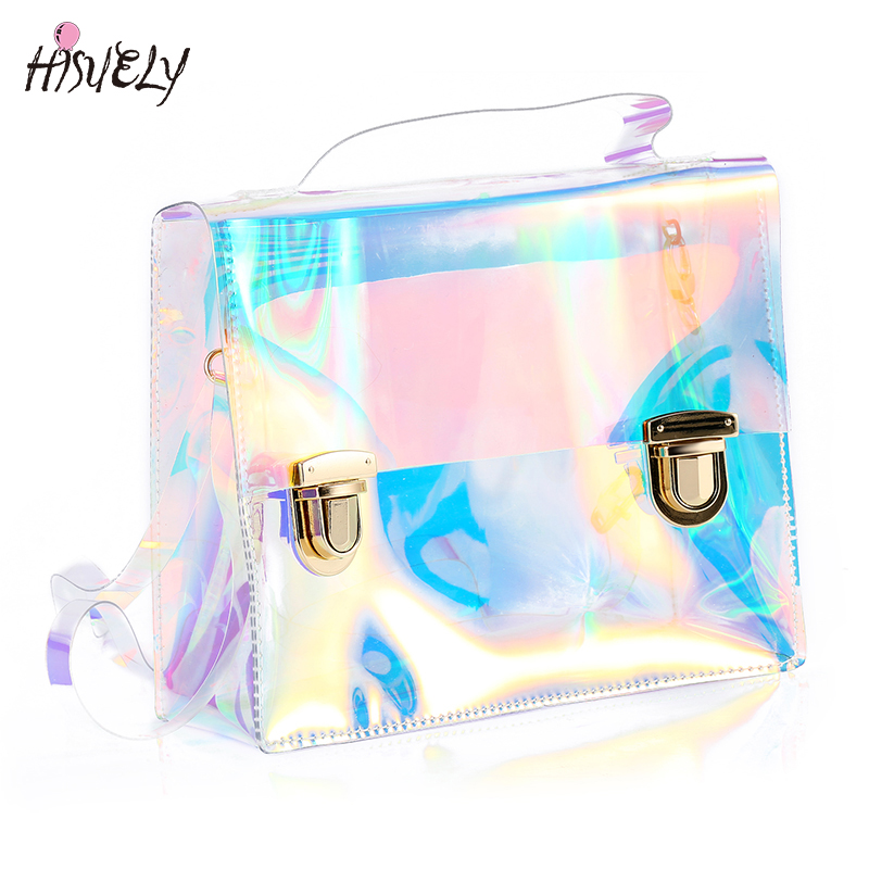 Women Summer Beach Bag PVC Jelly Clear Transparent Bags Small Tote Bag Hologram Handbags Laser Shoulder Bags Party Gift Retro  summer handbags transparent beach bag trend chains shoulder bag jelly candy color messener bag bright pvc composite bag set 1731