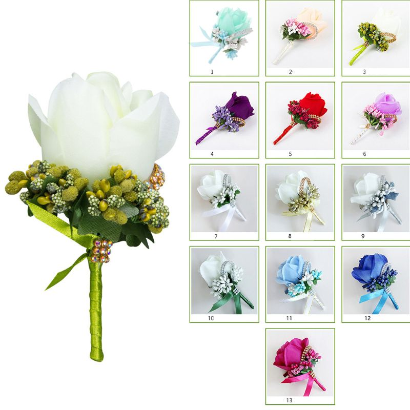1Pc Women Men Wedding Artificial Rose Flower Brooch Bouquet Corsage Glitter Rhinestone Ribbon Lace Classic Prom Boutonnier