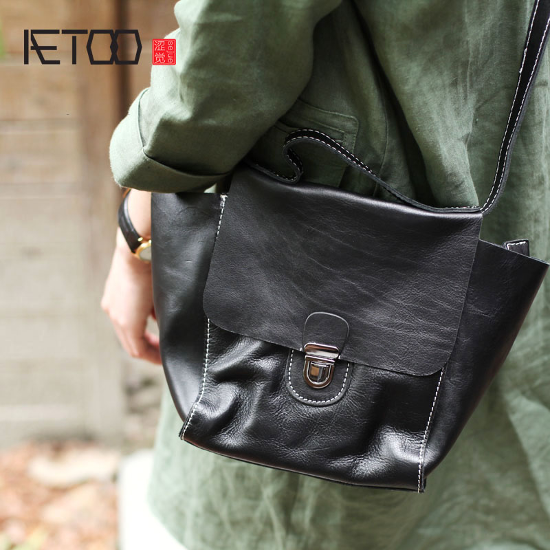 AETOO Autumn and winter on the new small bag black soft leather locomotive Messenger bag first layer leather casual handbag famous brands first layer of leather woman bag autumn and winter fashion shoulder bag casual mobile messenger bag
