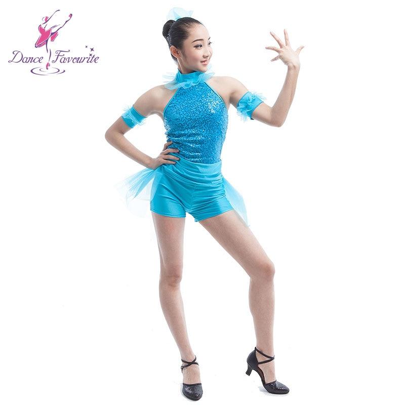 Child blue sparkling sequin bodice women & girl tap/jazz dance costume lady ballet dance performance stage dance costume