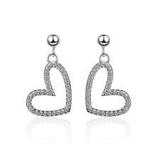Romantic Love Heart Shiny Cubic Zirconia 925 Sterling Silver Female Stud Earrings Original Jewelry For Women Drop Shipping Gift