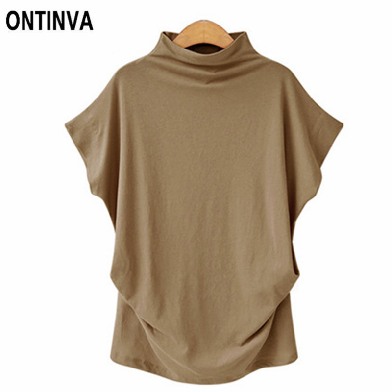 Women Casual Plus Size Tshirt 2018 Femme New Turtlneck Loose Bat Sleeve Tee  Shirt Tunics Hot Summer Womens Clothing 6XL 5XL aed19acfcad4