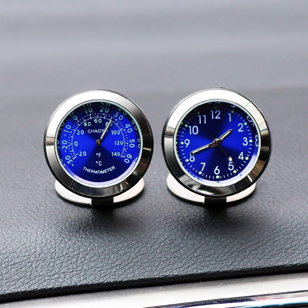 Car Ornament Creative Luminous Clock Thermometer Fashion Automobile Auto Interior Digital Pointer Watch Decoration Accessories