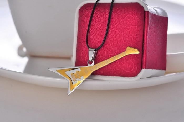Stainless Steel Guitar Necklace Pendant
