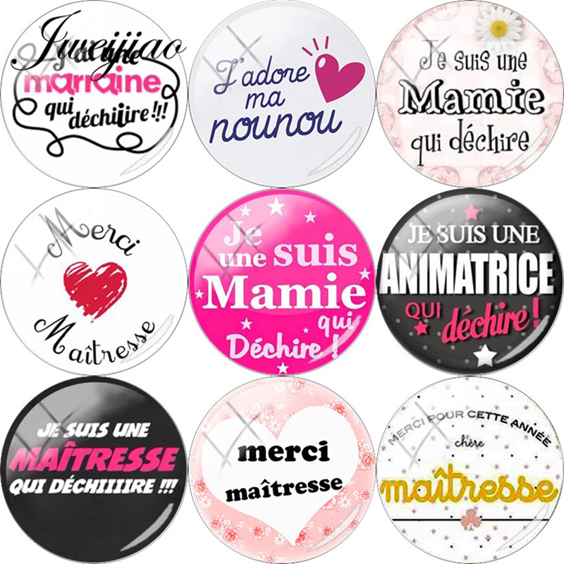 JWEIJIAO French ' Je Suis Une Maitresse Qui Dechire' Glass Cabochon Dome Merci Maitresse For Keychain Necklace DIY Charms Custom(China)