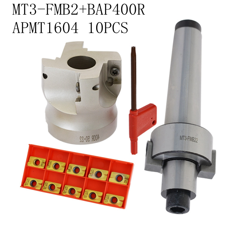 1set MT3 FMB22 + 400R right angle shoulder Face Mill Cutter 50mm + 10pcs APMT1604 Carbide Inserts with Wrench For Milling ToolTool Holder   -