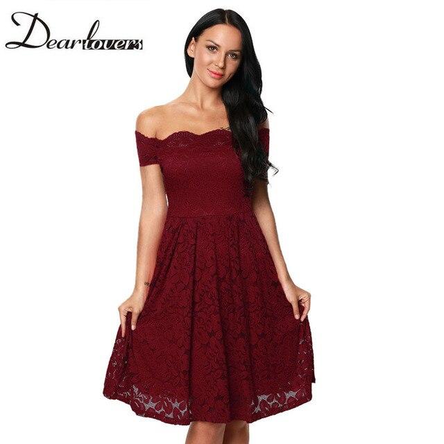 9dfb270ea23 Dear lover Wine Scalloped Off Shoulder Flared Lace Women Party Dress 2017  Elegant Skater Dress Vestidos Vintage Mujer LC61446