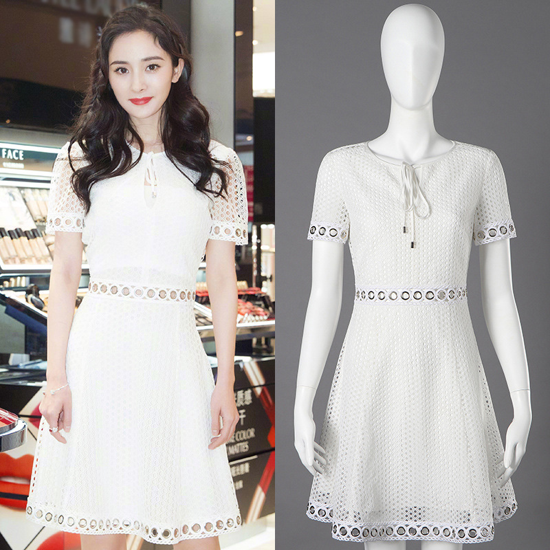 New 2019 The summer embroidered flowers with fashion street people hollow out little white dress