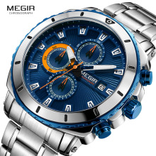 MEGIR 2018 New Quartz Luminous Man Watch Fashion Sport Stainless Steel Klockor 3ATM Vattentät Armbandsur Chronograph Calendar